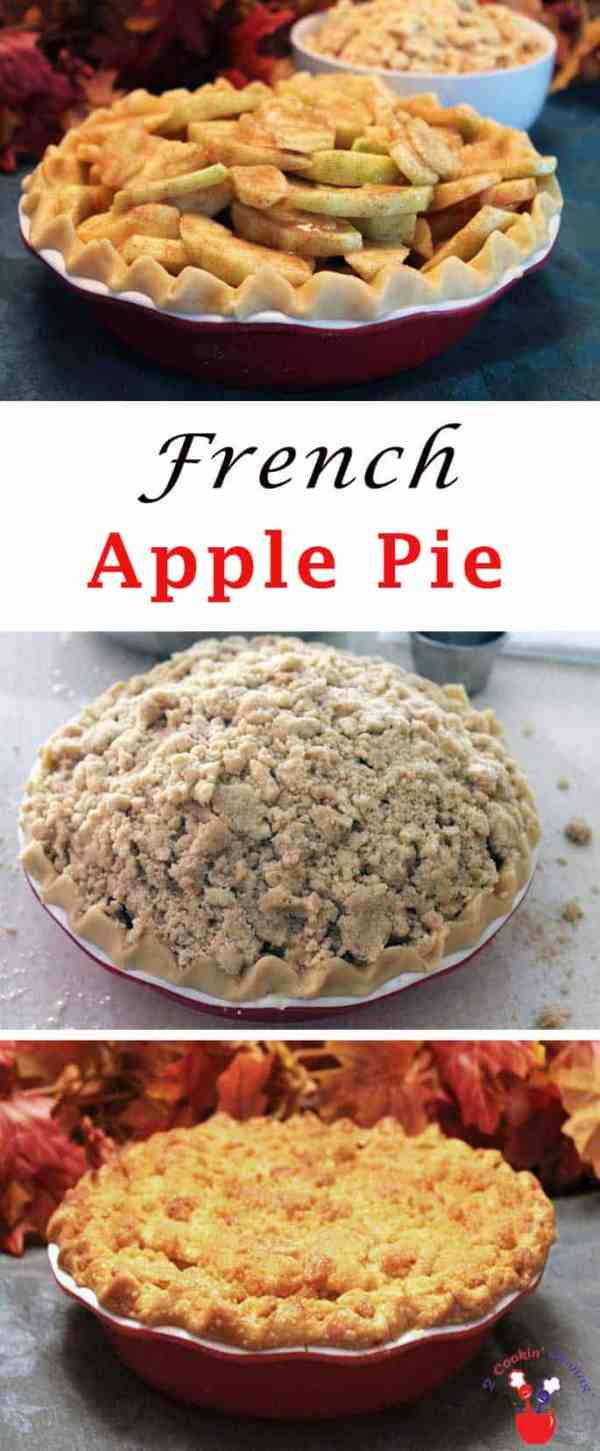 French Apple Pie | 2 Cookin Mamas A flaky crust filled with cinnamon apples & topped with loads of sugary crumbs. #recipe