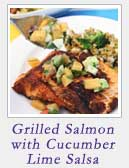 Grilled Salmon with Cucumber Lime Salsa | 2 Cookin Mamas