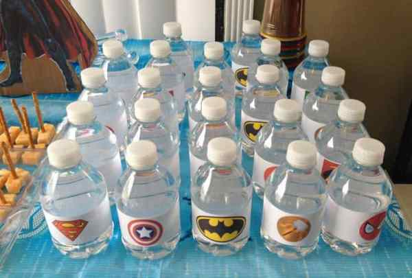 Superhero Birthday Party water bottles labeled | 2 Cookin Mamas
