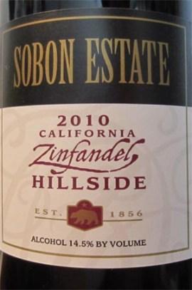 2010 Sobon Estate Zinfandel Hillside