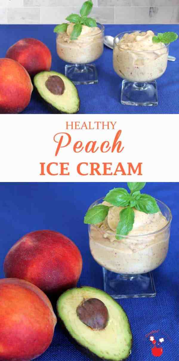 Healthy Peach Ice Cream | 2 Cookin Mamas Our healthy peach ice cream delivers on taste & it's good for you too. Peaches, yogurt, avocado & almond butter deliver a creamy taste without the guilt.