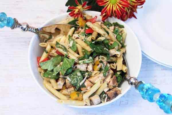 Balsamic Chicken and Pasta Salad closeup   2 Cookin Mamas
