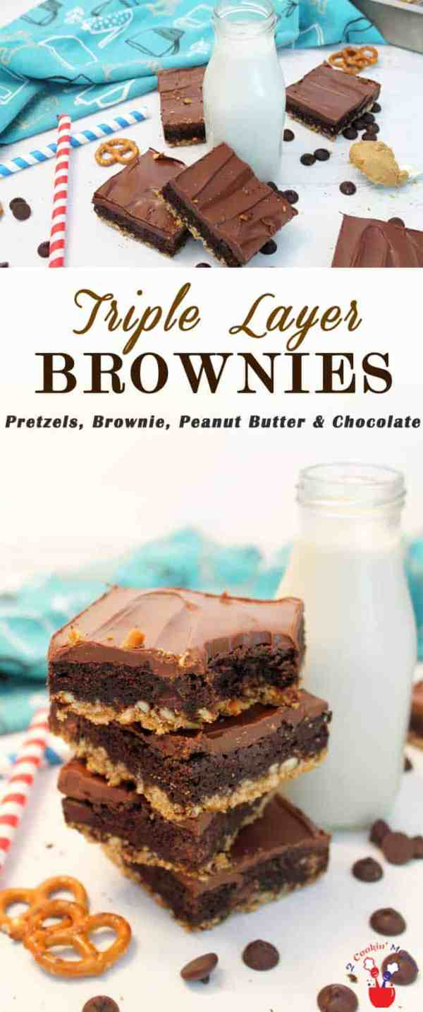 Triple Layer Brownies | 2 Cookin Mamas Get that sweet and salty taste in our easy triple layer brownies recipe! Start with a boxed mix, some pretzels, peanut butter & chocolate. So easy & so delicious!