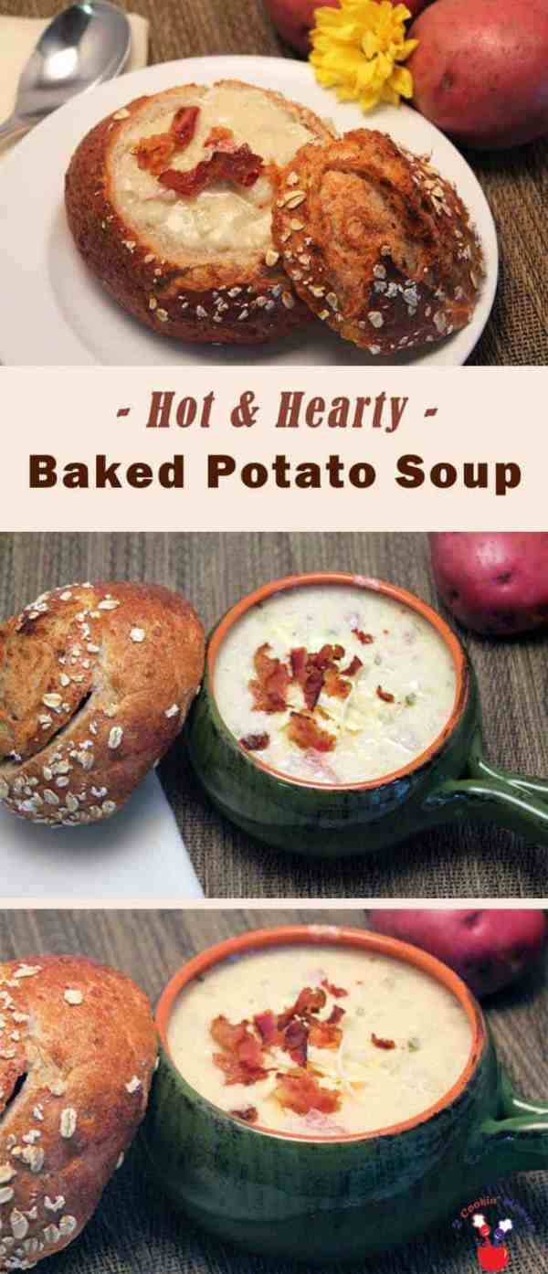 Baked Potato Soup | 2 Cookin Mamas Have your favorite side in a bowl! Rich, flavorful baked potato soup makes a hearty lunch or dinner. Top it with cheese and bacon to put it over the top! #recipe