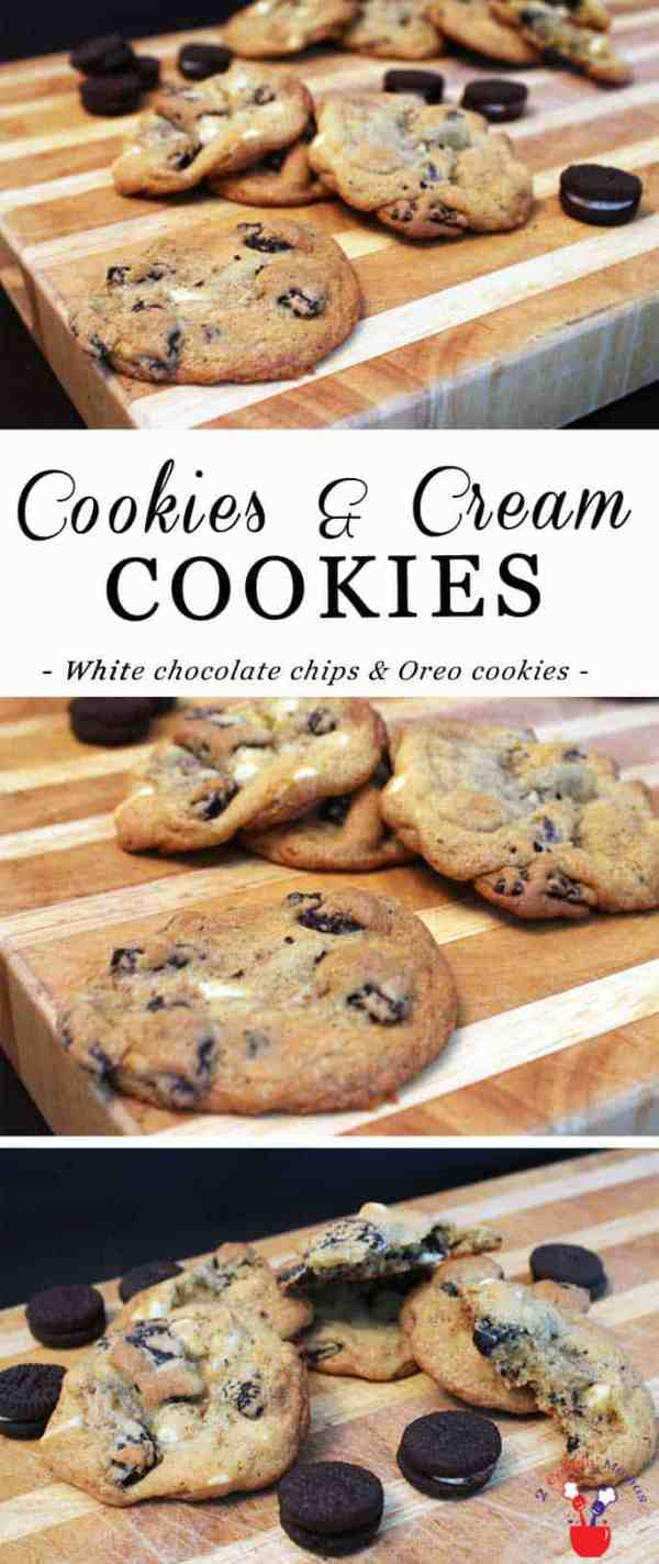 Cookies and Cream Cookies pin | 2 Cookin Mamas Everyone loves these delicious Cookies and Cream Cookies! I mean, how can you help it! White chocolate chips, Oreo cookies - see what I mean?!