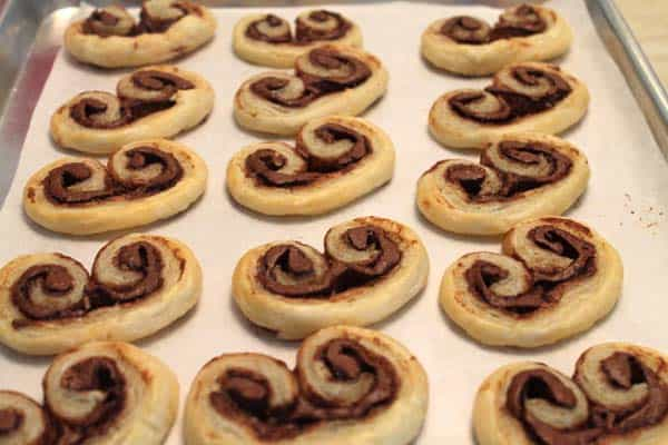 Nutella Palmiers baked and ready to eat