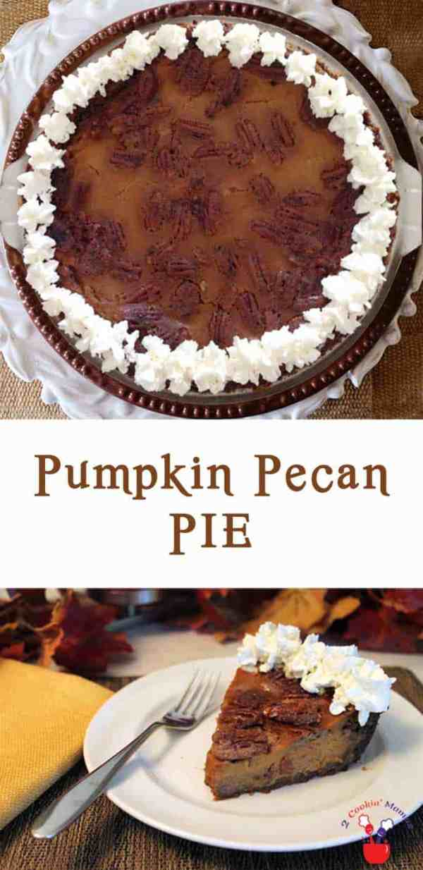 Pumpkin Pecan Pie | 2 Cookin Mamas It's 2 pies in 1! Creamy pumpkin pie filling topped with sweet crunchy pecans makes this a special holiday treat. #recipe