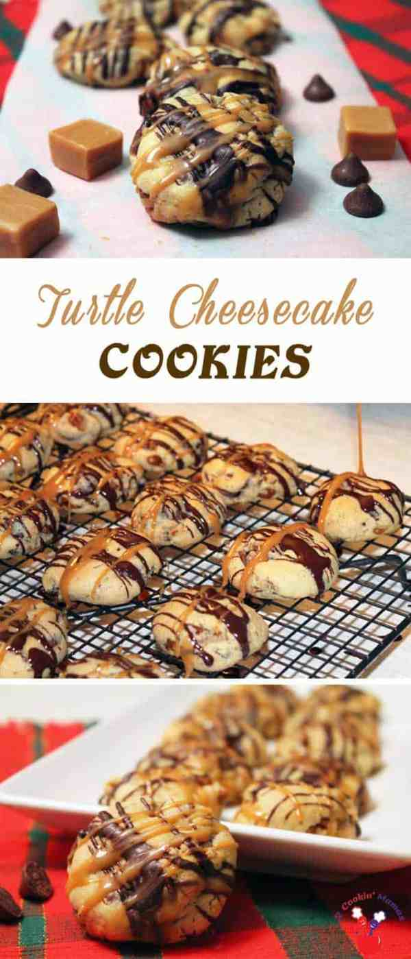 Turtle Cheesecake Cookies | 2 Cookin Mamas A soft cream cheese cookie filled with caramel and pecans then drizzled with chocolate, just like the candyl! #recipe