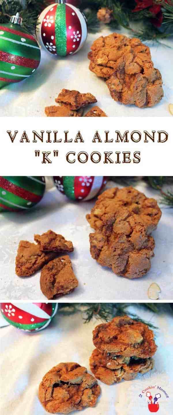 Vanilla Almond K Cookies pin | 2 Cookin Mamas