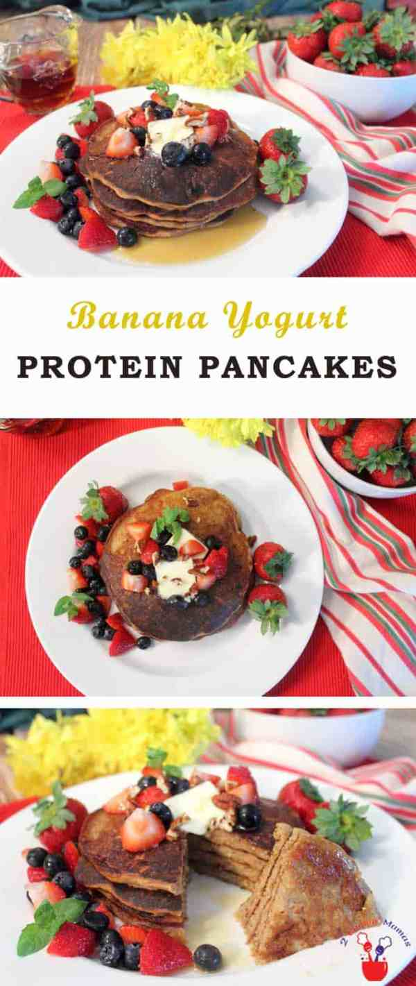 Protein Pancakes | 2 Cookin Mamas These healthy high protein pancakes are packed full of protein, calcium, useful carbs & only a little sugar. Make the dry mix ahead of time & add liquid ingredients when you're ready for a fast start to any morning.