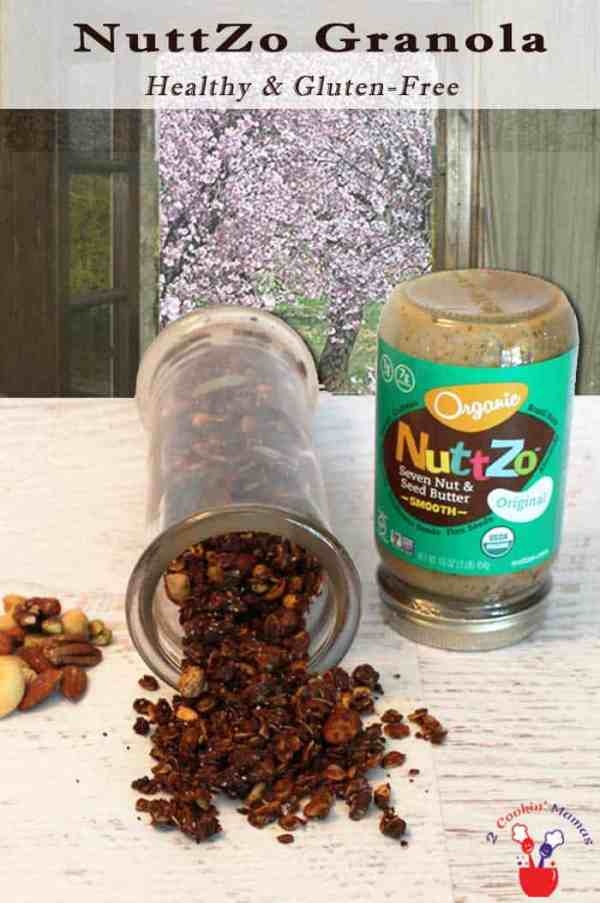 Nuttzo Granola | 2 Cookin Mamas Easy homemade NuttZo Granola that's super delicious, gluten-free & healthy too! Sweetened only with honey, it makes the perfect breakfast or snack.