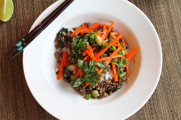 Thai Beef with Carrot Basil Salad plated | 2CookinMamas