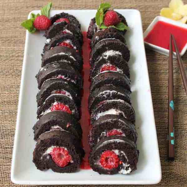 Raspberry Sushi Roll square | 2 Cookin Mamas