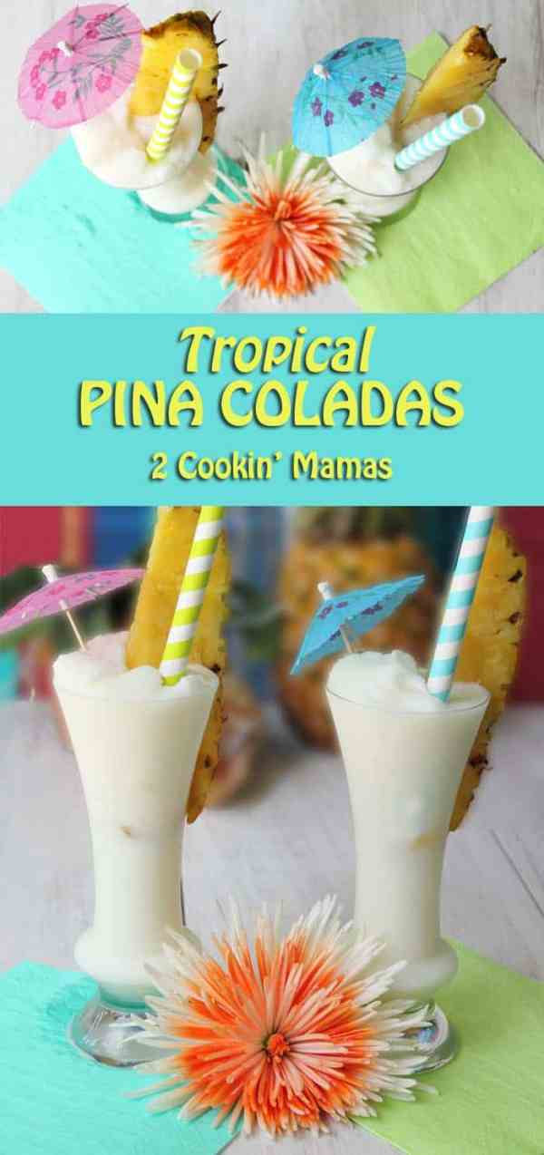 "Pina Coladas main | 2 Cookin Mamas A tropcial drink that will have you dreaming of the islands or the song ""Put the lime in the coconut & shake it all up!"" #recipe #cocktail"