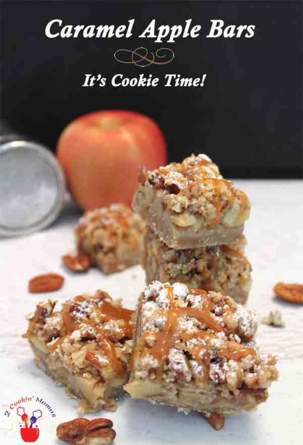 Caramel Apple Bars main | 2 CookinMamas Nothing's more perfect for a fall treat than these bars that taste like a little apple pie you can hold in your hand. Topped with caramel makes them over the top delicious! #recipe #dessert #bar cookies