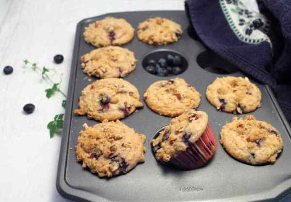 Blueberry Streusel Muffins in muffin tin|2CookinMamas