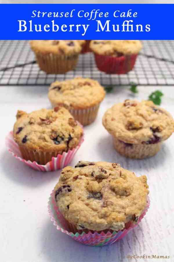 Blueberry Streusel Muffins pin | 2CookinMamas