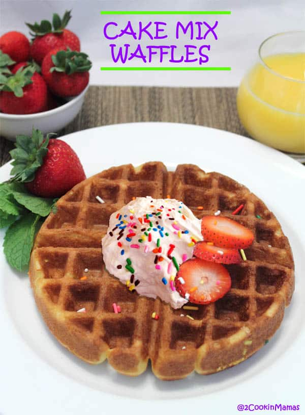 Cake Mix Waffles with cream main|2CookinMamas