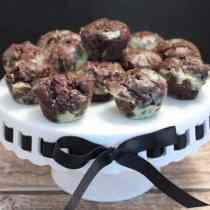 Thin Mint Avocado Brownie Bites on stand|2CookinMamas
