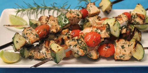 Grilled Italian Salmon Skewers close up|2CookinMamas