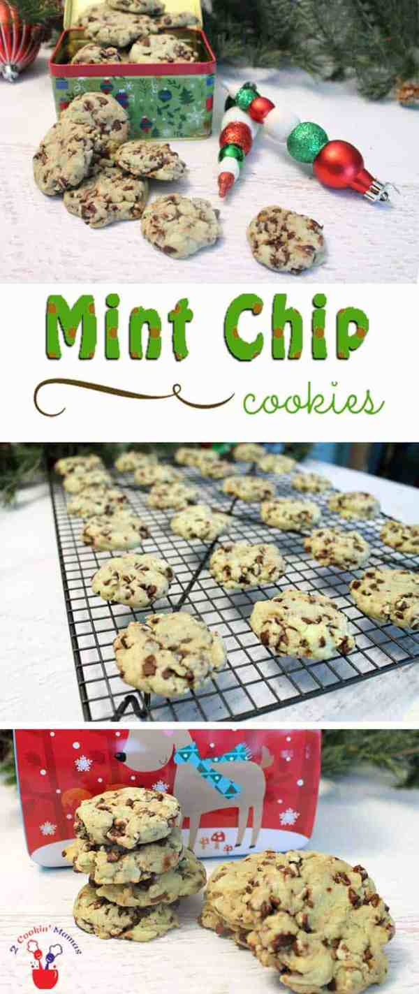 Mint Chip Cookies | 2 Cookin Mamas  Mint Chip Cookies are easy to make & delicious too! Start with a cake mix, add liquid ingredients then stir in Andes mint chips and wait for the yums! #recipe #cookies #holiday