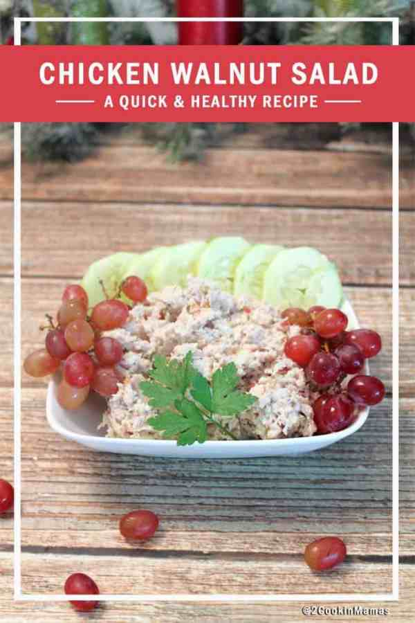 Chicken Walnut Salad pin|2CookinMamas - A healthy and easy salad to put together. Psst, the secret ingredient is grapes!