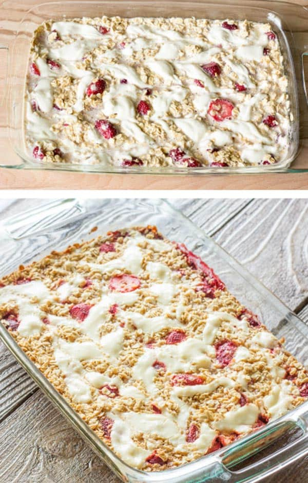 Strawberry-Cheesecake-Baked-Oatmeal from The Wholesome Dish