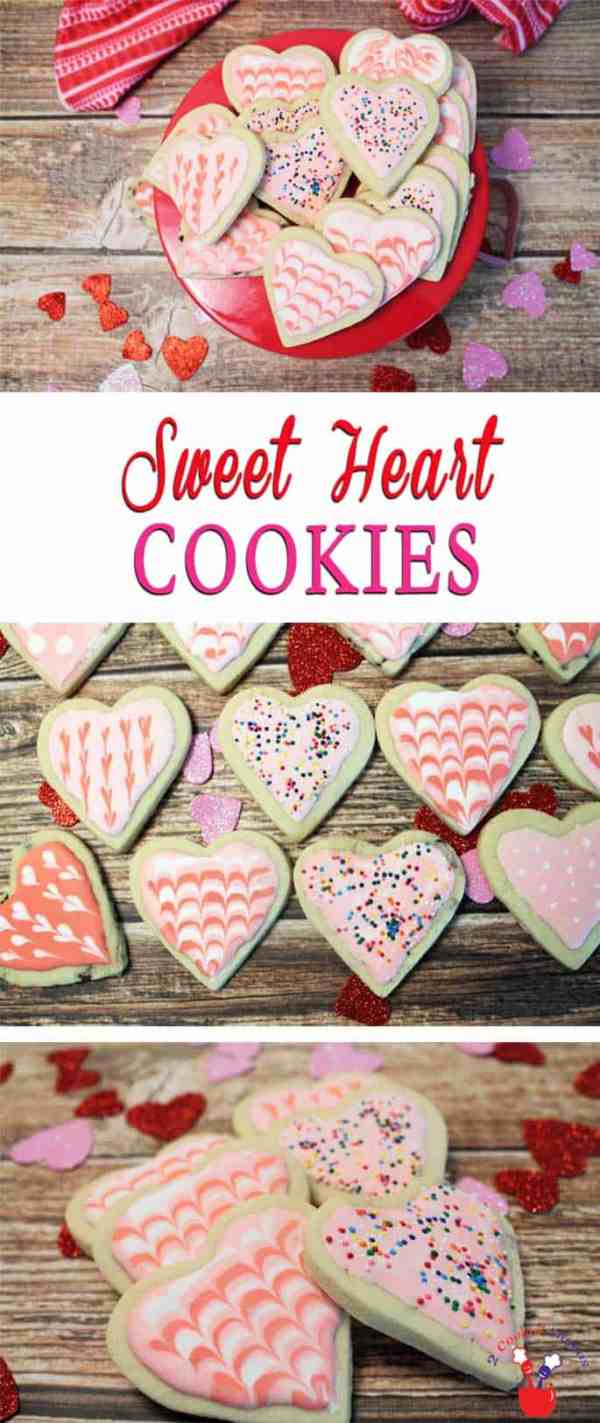Sweet Heart Cookies | 2 Cookin Mamas A basic sugar cookie dough makes these Sweet Heart Cookies easy to make. Delicious as they are or decorate with royal icing for your Valentine sweetheart.