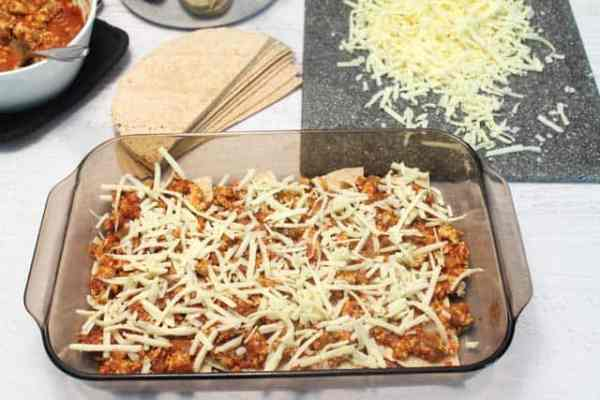 Turkey Enchilada Casserole 1st layer|2CookinMamas