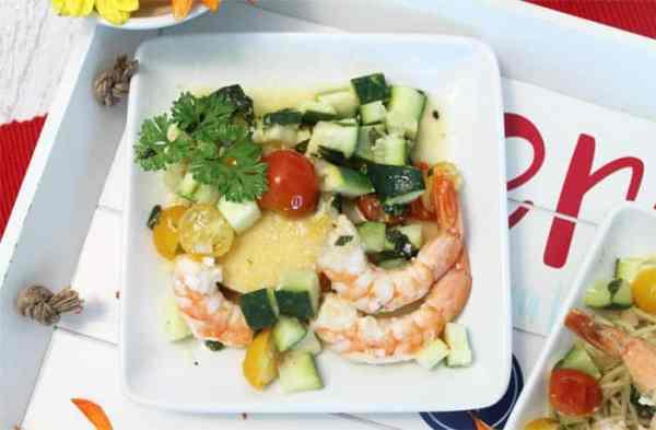 Grilled Shrimp Foil Packets polenta | 2 Cookin Mamas