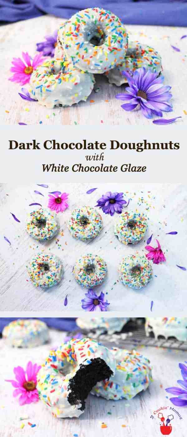 Dark Chocolate Doughnuts with White Chocolate Glaze | 2 Cookin Mamas If you're a chocolate lover, you'll love these dark chocolate doughnuts. They bake up so moist that you almost don't need the white chocolate glaze. But go ahead and do it anyway. And there's a gluten-free version too! #recipe