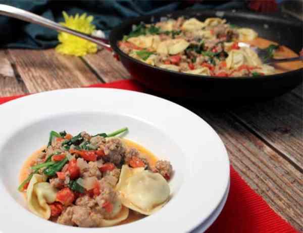 Italian Sausage Tortellini Skillet served   2 Cookin Mamas