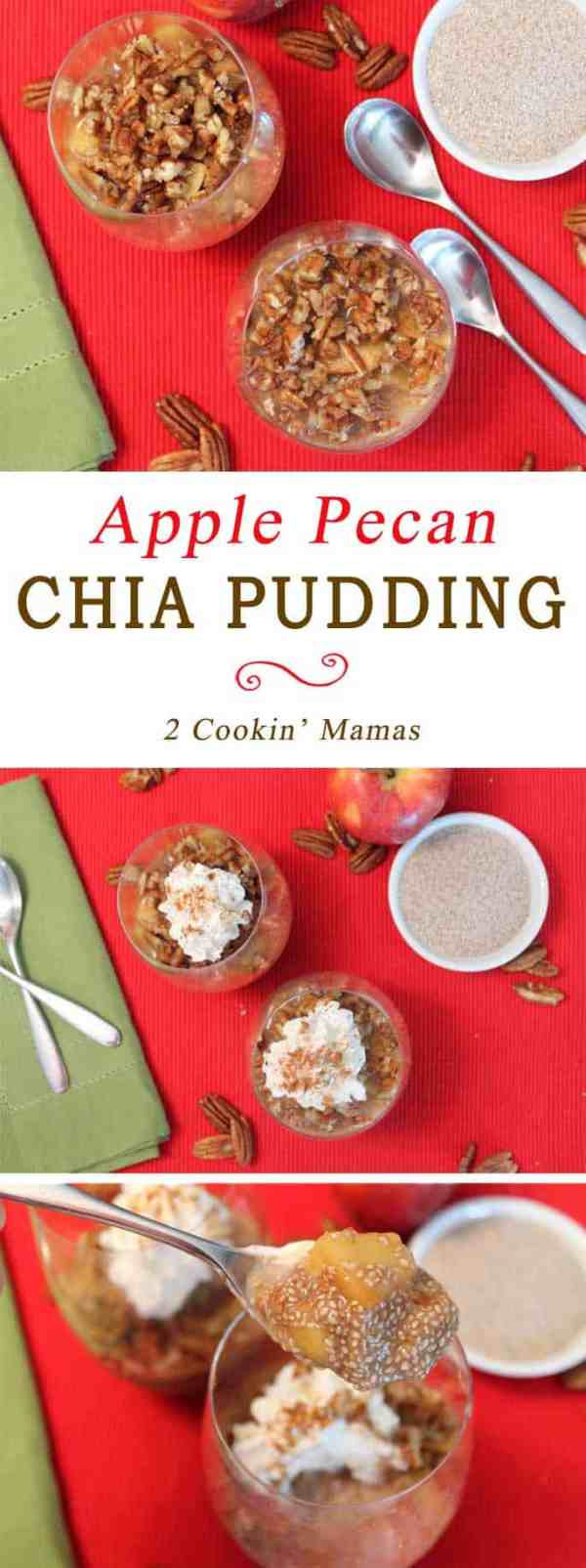 Apple Pecan Chia Pudding | 2 Cookin Mamas This pudding can be breakfast or dessert! Chia seeds are flavored with maple syrup and apple cider then topped with cinnamon apples and pecans for the ultimate sweet healthy treat.