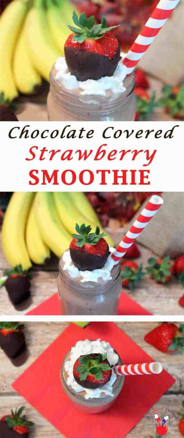 Chocolate Covered Strawberry Smoothie | 2 Cookin Mamas Start any day off on the right foot with this Chocolate Covered Strawberry Smoothie. An antioxidant-packed mix of greens, fruits & vegetables to help you stay healthy & energized. #recipe