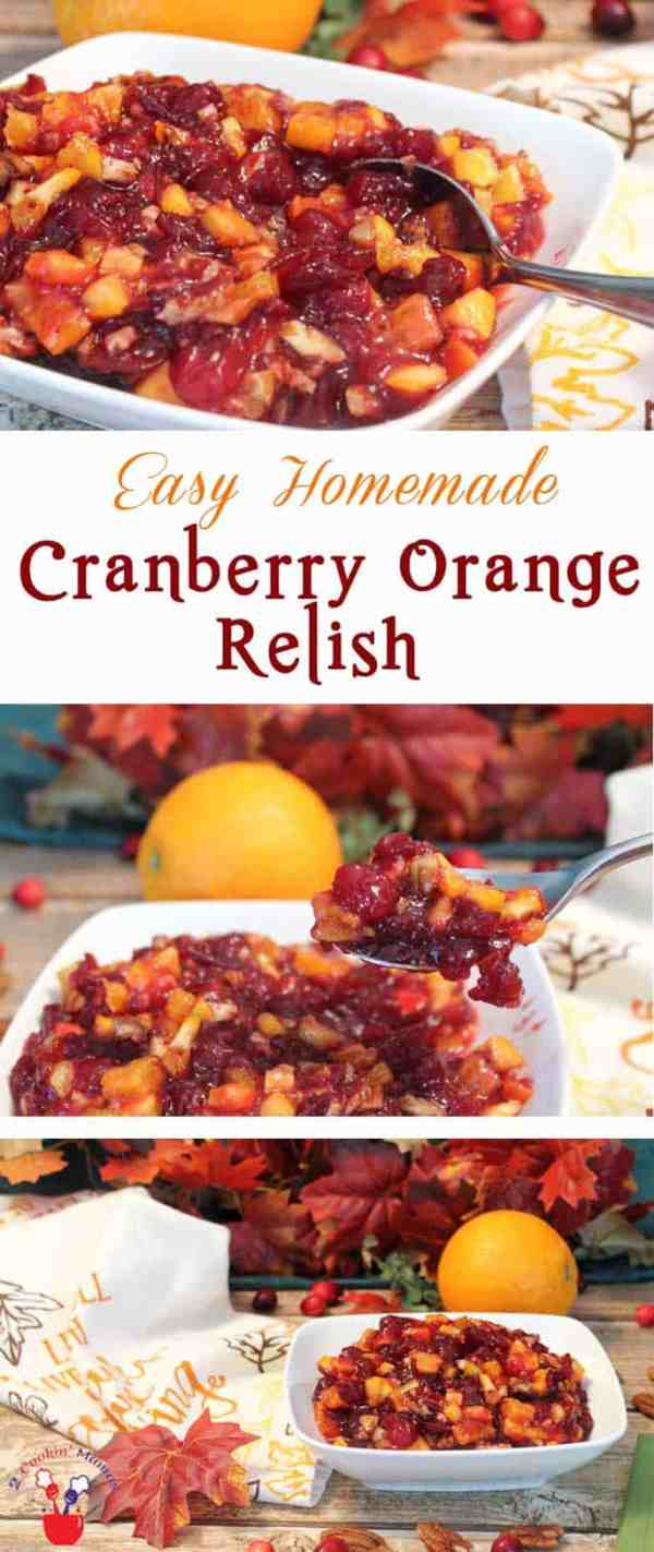 Homemade Cranberry Orange Relish main | 2 Cookin Mamas Fresh, tart, homemade cranberry orange relish is not only easy to make but the perfect cranberry side dish to serve with your holiday turkey. #recipe