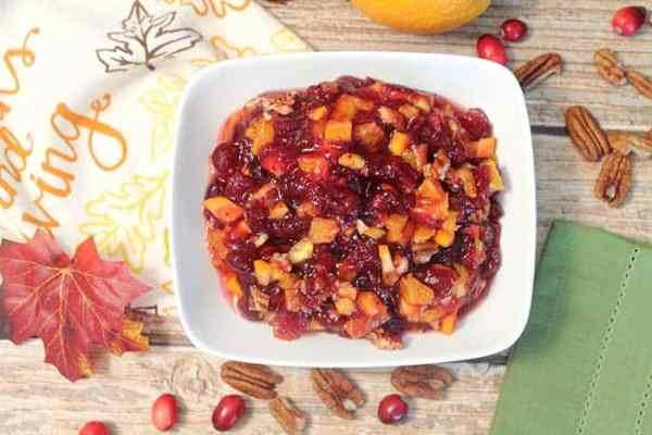 Homemade Cranberry Orange Relish overhead | 2 Cookin Mamas
