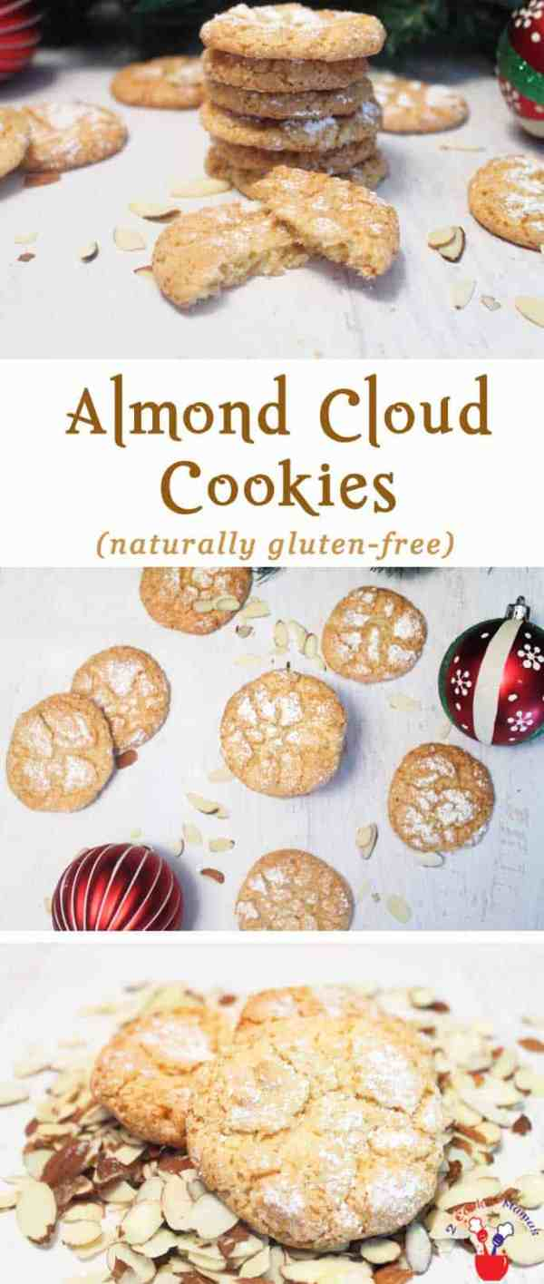 Almond Cloud Cookies | 2 Cookin Mamas These Almond Cloud Cookies are for the almond lover in you. They're chewy & light & bursting with almond flavor. Not only that, they're naturally gluten-free! #recipe