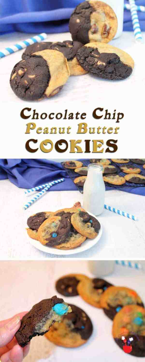 Chocolate Chip peanut Butter Cookies | 2 Cookin Mamas Is it a chocolate chip cookie with peanut butter chips or a chocolate peanut butter cookie with chocolate chips! It's both - a Chocolate Chip Peanut Butter Cookie! #recipe
