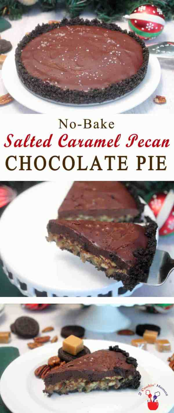 Salted Caramel Pecan Chocolate Pie | 2 Cookin Mamas A deliciously decadent pie with a crust of Oreos, a layer of caramel pecans topped with rich chocolate ganache & a sprinkle of sea salt. #recipe