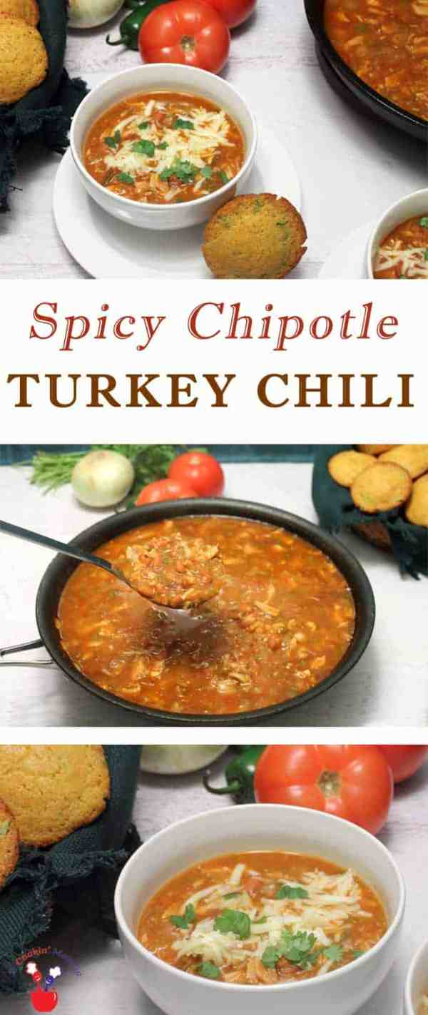 Spicy Chipotle Turkey Chili | 2 Cookin Mamas This Chipotle Turkey Chili has all the things you love about chili and then some! A deliciously tasty dinner packed with turkey (or chicken) and pinto beans, spiced up with a little chipotle and ready in under 30 minutes. #recipe