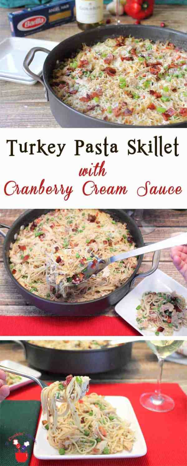Turkey Pasta Skillet with Cranberry Cream Sauce pin | 2 Cookin Mamas Turkey Pasta Skillet with Cranberry Cream Sauce is rich, creamy & so easy to make. Great use for holiday leftovers & delicious enough to serve for company. #thetalkofthetable #ad #recipe