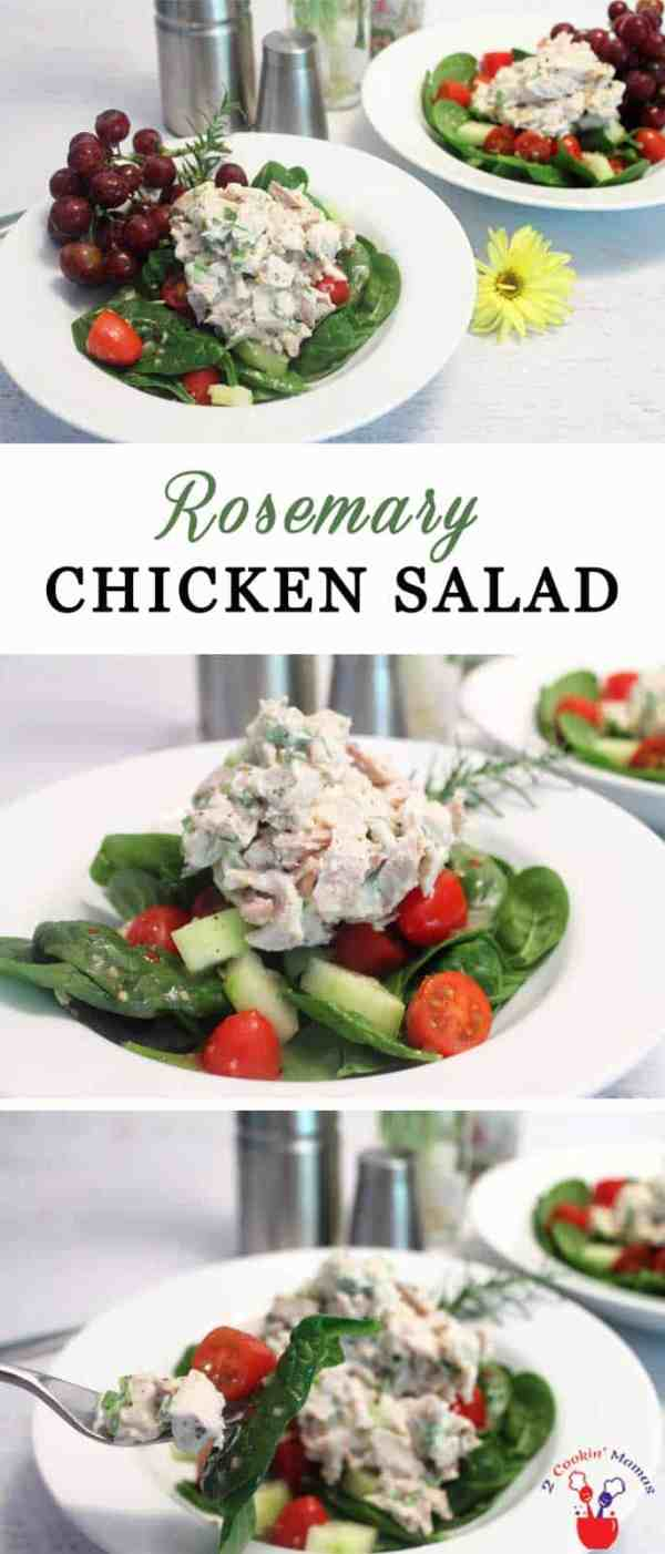 Rosemary Chicken Salad | 2 Cookin Mamas Our healthy Rosemary Chicken Salad is easy to make and, when served over our spinach salad, is packed with lean protein, fiber and important antioxidants. #recipe