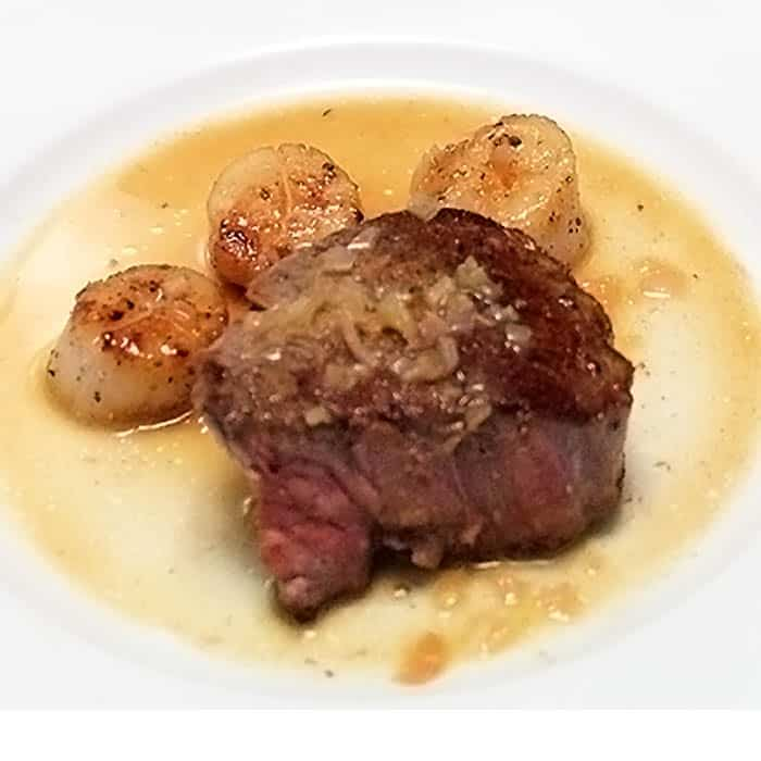 Steak and Scallops with Champagne Butter Sauce