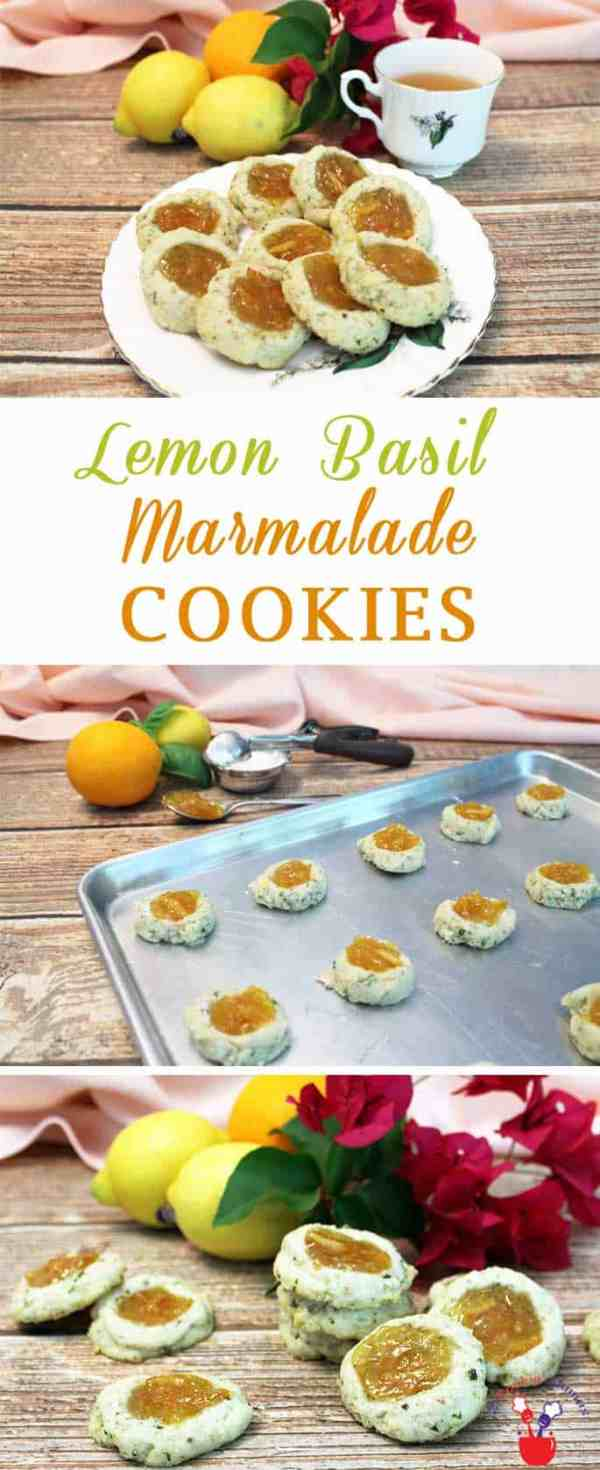 Lemon Basil Marmalade Cookies | 2 Cookin Mamas Our savory & not too sweet Lemon Basil Marmalade Cookies are perfect for teatime or afternoon snack. It's a shortbread cookie filled with orange marmalade. #recipe