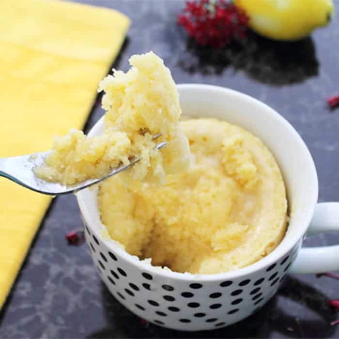 Easy Microwave Lemon Mug Cake with Lemon Glaze