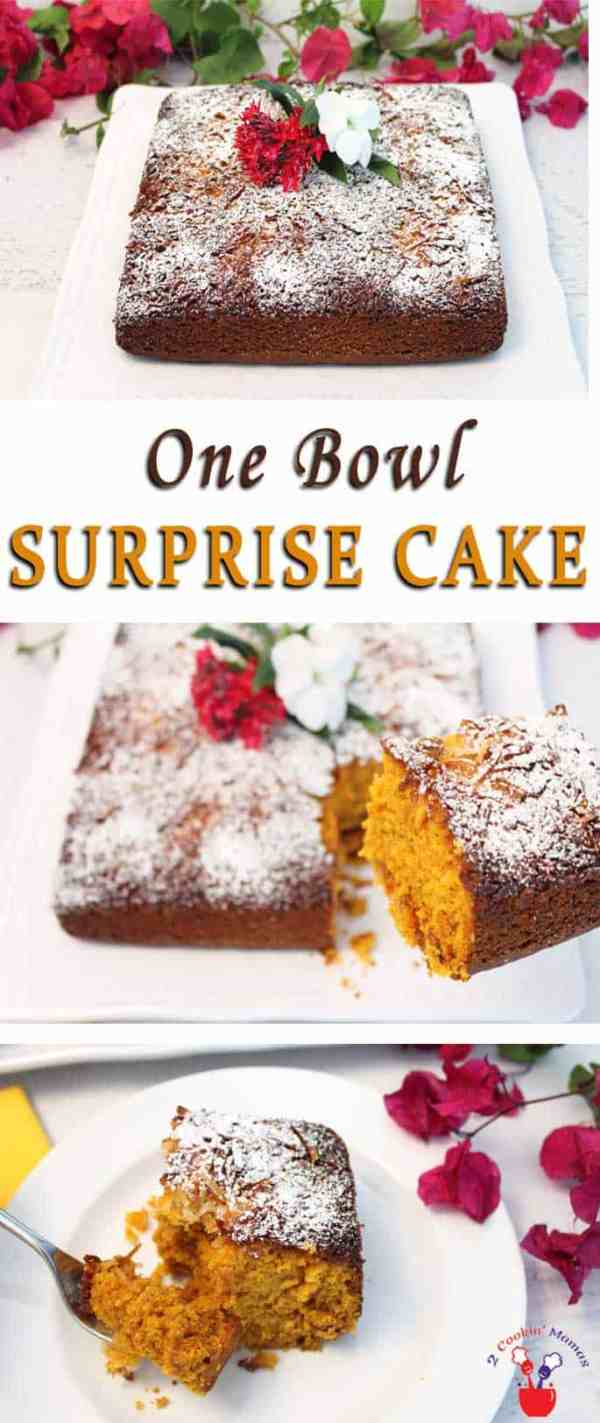 One Bowl Surprise Cake | 2 Cookin Mamas This easy one bowl surprise cake is a moist & delicious spice cake with a crunchy toasted coconut topping. You'll never guess the surprise ingredient.