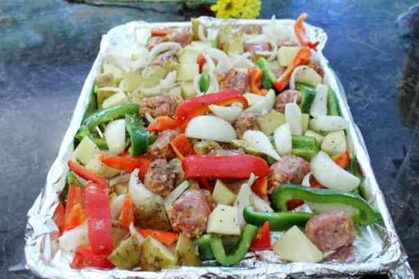 Sausage and Peppers Sheet Pan Dinner prep 3a | 2 Cookin Mamas