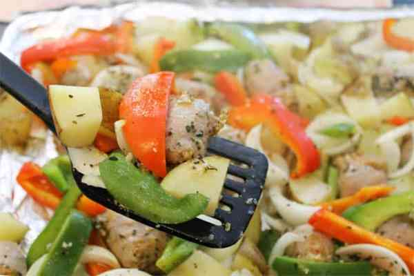 Sausage and Peppers Sheet Pan Dinner serving | 2 Cookin Mamas