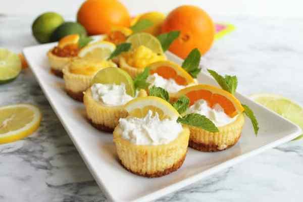 Mini Citrus Honey Cheesecakes all | 2 Cookin Mamas