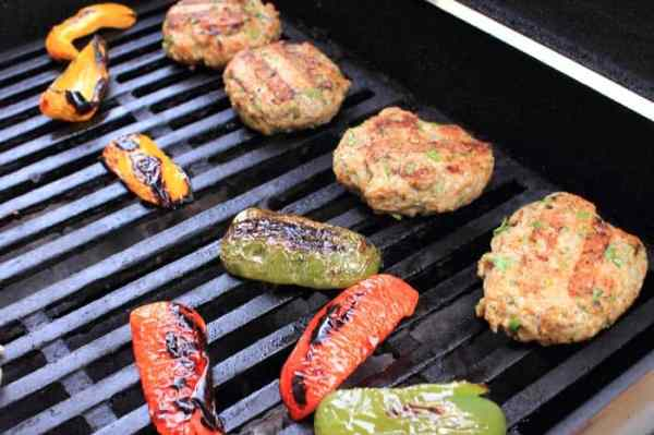 Chicken Burgers with a Mexican Twist grilling | 2 Cookin Mamas